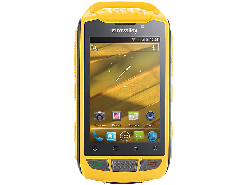 simvalley MOBILE Outdoor-Smartphone SPT-800 DC, Android 4.0, gelb; outdoor Handy, Simvalley Smartphone & Smartwatches outdoor Handy, Simvalley Smartphone & Smartwatches outdoor Handy, Simvalley Smartphone & Smartwatches