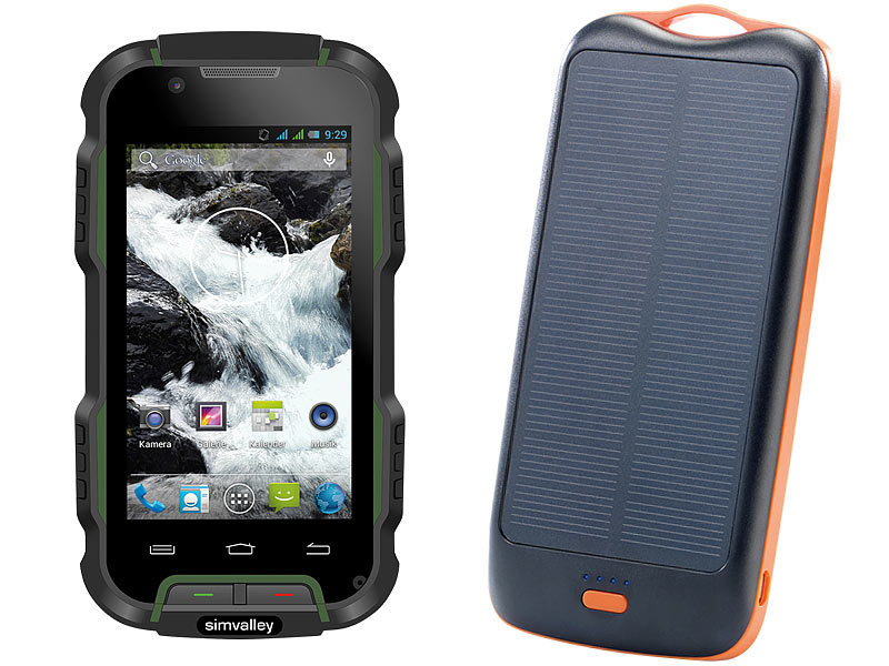 simvalley MOBILE Outdoor-Smartphone SPT-900 V2 + Solar-Powerbank; Android Smartphones Android Smartphones