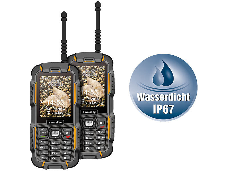 simvalley MOBILE Dual-SIM-Outdoor-Handy, Walkie-Talkie XT-980 2er Set