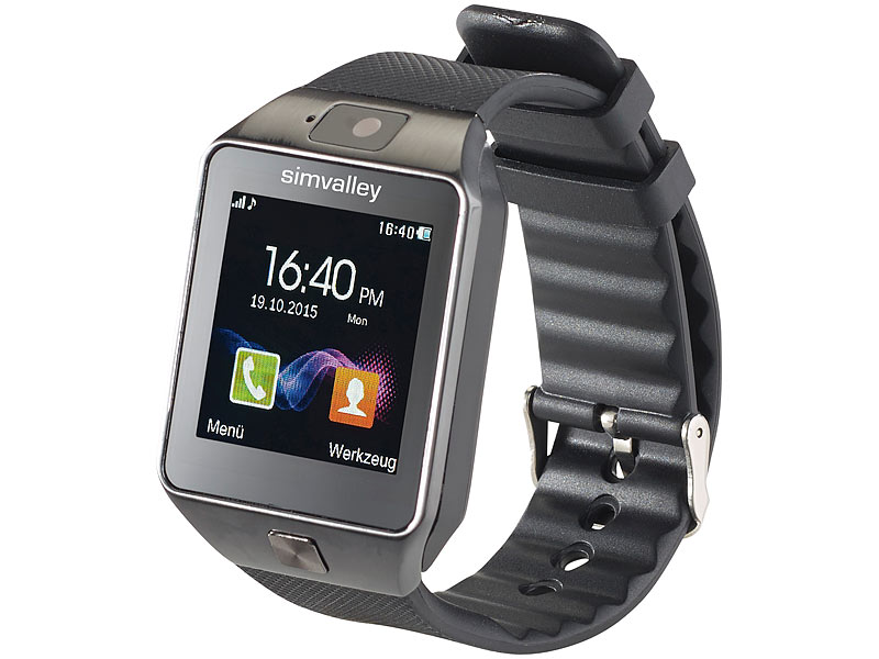 "simvalley MOBILE 1,5""-Handy-Uhr/Smartwatch PW-430.mp, BT 3.0, Kamera (refurbished)"
