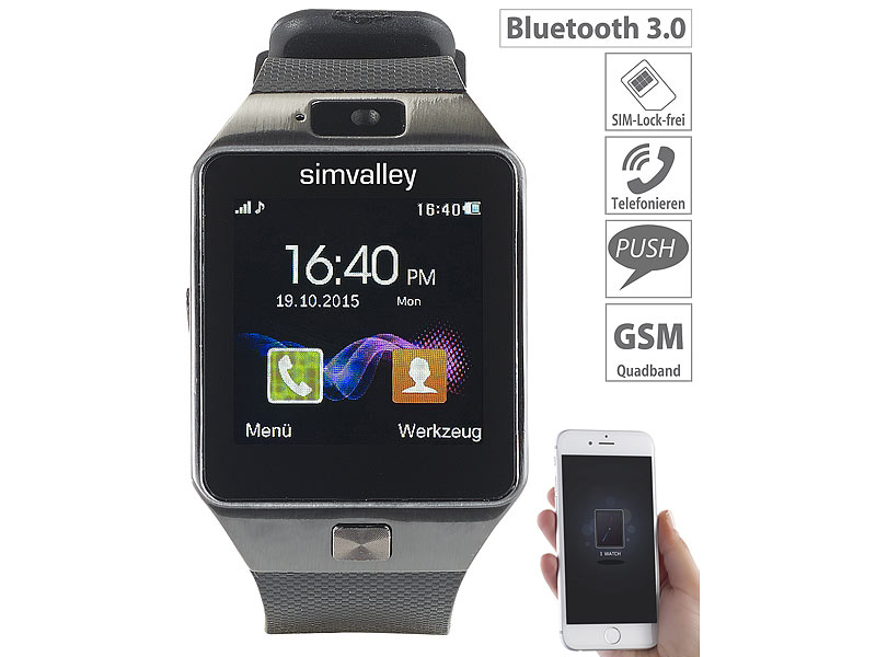 Simvalley Mobile 15 Handy Uhr Smartwatch Pw 430mp Mit Bluetooth