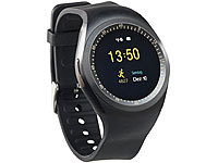 simvalley MOBILE 2in1-Uhren-Handy & Smartwatch für Android, rundes Display, Bluetooth