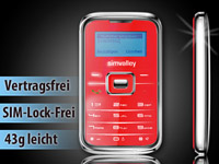 "simvalley MOBILE Mini-Handy RX-180 ""Pico INOX RED V.4"" VERTRAGSFREI"