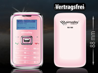 "simvalley MOBILE Mini-Handy RX-180 ""Pico INOX PINK V4"" VERTRAGSFREI"