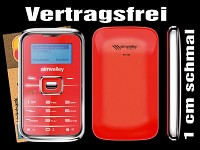 "simvalley MOBILE Mini-Handy ""RX-180 Pico INOX RED V.4"" VERTRAGSFREI"