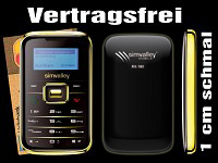 "simvalley MOBILE Mini-Handy RX-180 ""Pico INOX GOLD V.4"" VERTRAGSFREI"