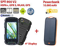 simvalley MOBILE Outdoor-Smartphone SPT-900 V2 + Solar-Powerbank