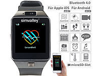 simvalley MOBILE Handy-Uhr & Smartwatch mit Kamera, Bluetooth 4.0, für iOS & Android