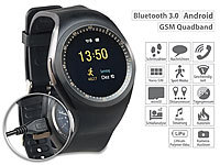 simvalley MOBILE 2in1-Uhren-Handy & Smartwatch für Android, rundes Display, Bluetooth; Android-Smart-Watches, Handy-Uhren Android-Smart-Watches, Handy-Uhren Android-Smart-Watches, Handy-Uhren Android-Smart-Watches, Handy-Uhren